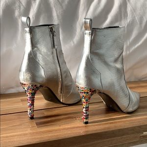 Mango Shoes - Mango Silver Western Booties Rainbow Heels